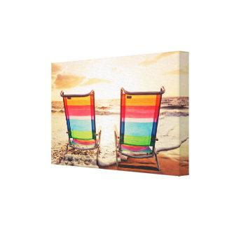 Toile Coucher du soleil avant de plage