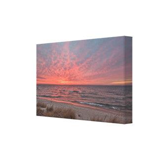 Toile Coucher du soleil de décembre sur le lac Michigan