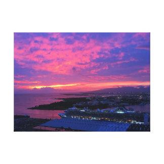 Toile Coucher du soleil de port de Honolulu