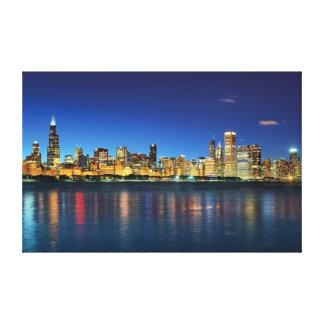 Toile Coucher du soleil d'horizon de Chicago