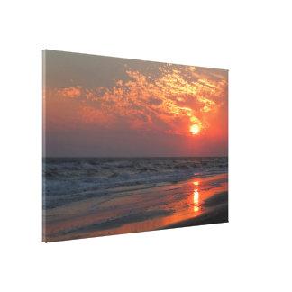 Toile Coucher du soleil d'océan - île de chêne, OR