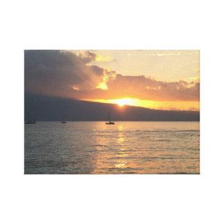 Toile Coucher du soleil du nord de rivage