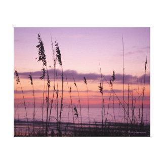 Toile Coucher du soleil pourpre avec l'avoine de mer