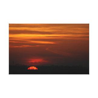 Toile Coucher du soleil rouge au-dessus du Midwest