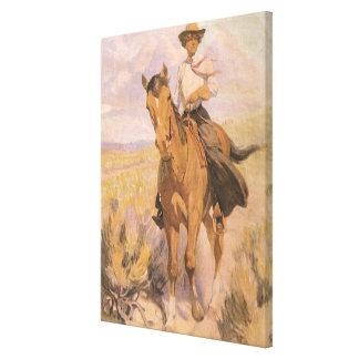 Toile Cowboy vintage de cow-girl, femme sur le cheval
