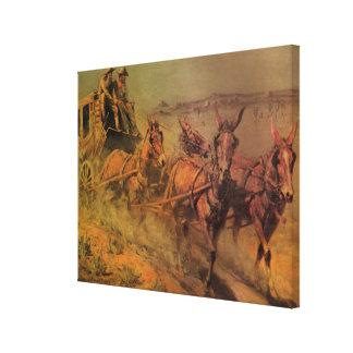 Toile Cowboys vintages, le car d'étape par John Borein