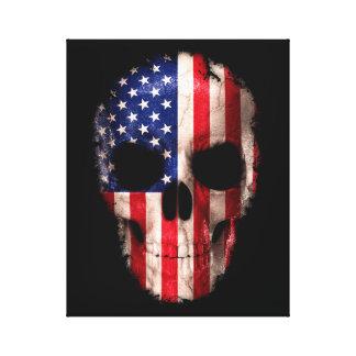 Toile Crâne imprimé de drapeau américain