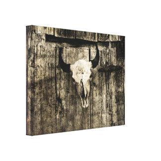 Toile Crâne rustique de buffle avec des klaxons contre