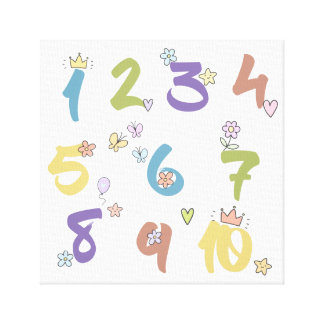 Toile Crèche de 123 nombres ou pièce d'enfants