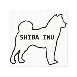 Toile Crème nommée de silhouette de Shiba Inu