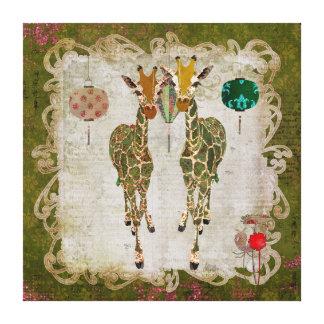 Toile crépusculaire olive de girafes d'or toile tendue sur châssis