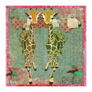 Toile crépusculaire rose de girafes d'or toile tendue sur châssis