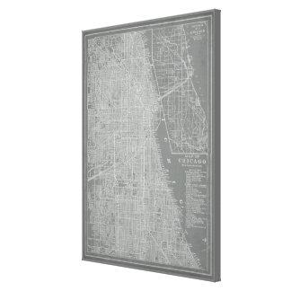Toile Croquis de carte de ville de Chicago
