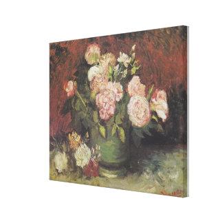 Toile Cuvette avec des pivoines et des roses par Vincent
