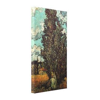Toile Cyprès de Van Gogh et deux femmes, beaux-arts