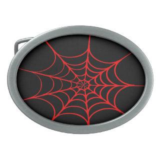 Toile d'araignée déplaisante (noir et rouge) boucles de ceinture ovales