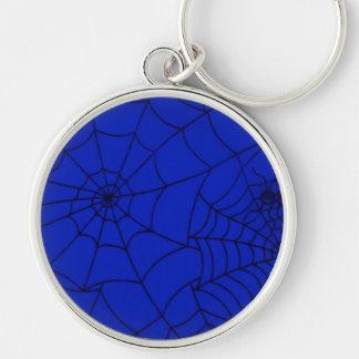 Toile d'araignée, filet d'araignée, toile porte-clé rond argenté