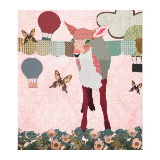 Toile d'art assez rose de course de ballon de faon impressions sur toile