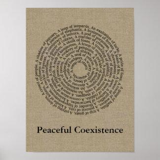 Toile de Faux de noms de groupe animal/coexistence Poster