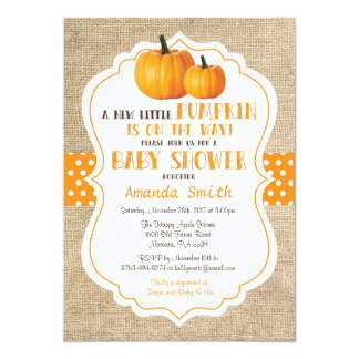 Toile de jute de carte d'invitation de baby shower carton d'invitation  12,7 cm x 17,78 cm