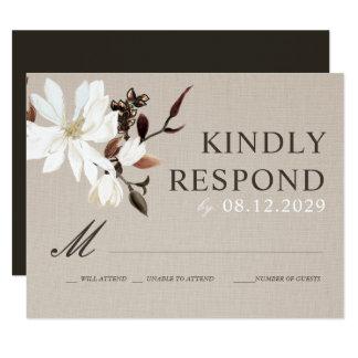 Toile de jute de floraison de magnolias épousant carton d'invitation 10,79 cm x 13,97 cm