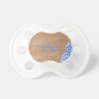 Toile de jute et dahlia sucette pour bébé
