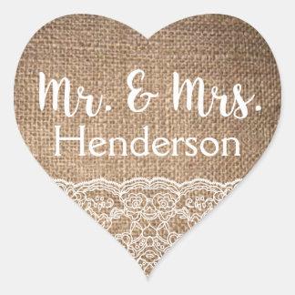 Toile de jute et dentelle, M. et Mme Stickers- Sticker Cœur