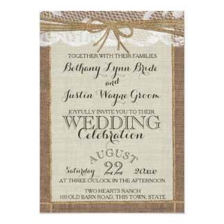 Toile de jute et dentelle Romance occidentales Carton D'invitation 12,7 Cm X 17,78 Cm