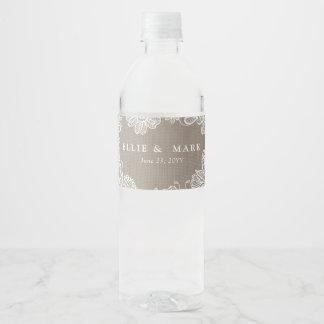 Toile de jute et mariage de dentelle étiquette pour bouteilles d'eau