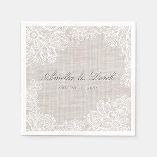 Toile de jute et mariage de dentelle serviettes en papier