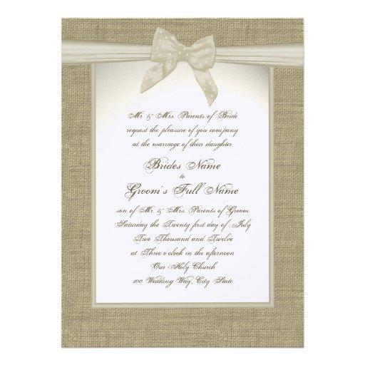 toile de jute et mariage rustique d 39 arc carton d 39 invitation 13 97 cm x 19 05 cm zazzle. Black Bedroom Furniture Sets. Home Design Ideas
