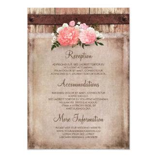 Toile de jute florale et information en bois carton d'invitation  11,43 cm x 15,87 cm