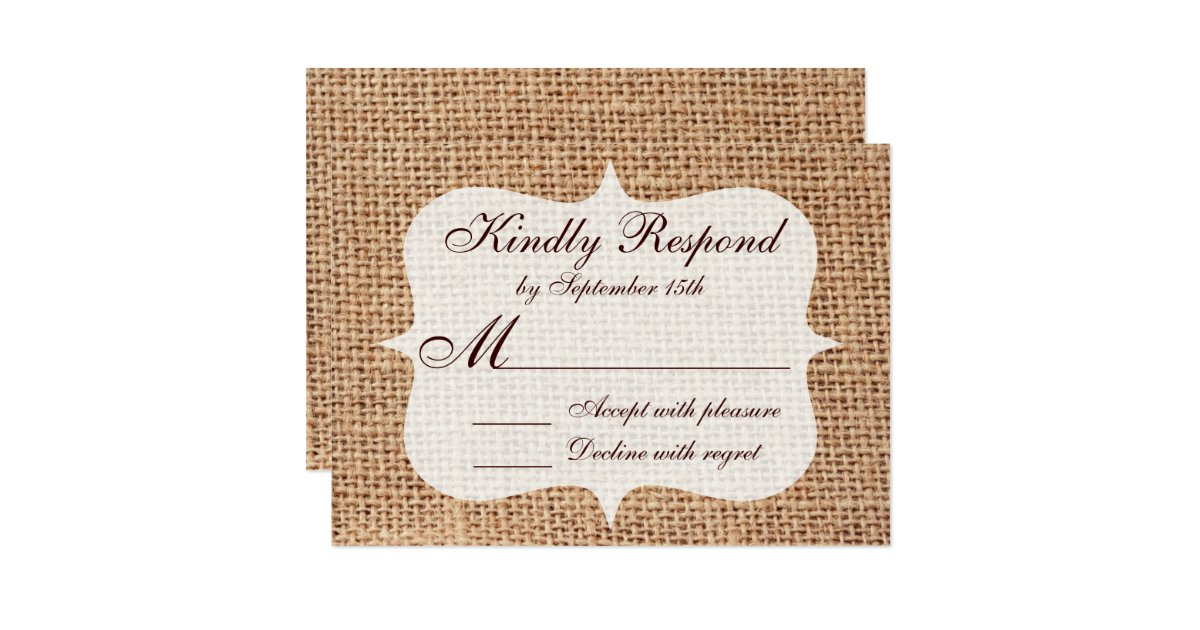 toile de jute imprim e par pays rustique pousant carton d 39 invitation 8 89 cm x 12 70 cm zazzle. Black Bedroom Furniture Sets. Home Design Ideas