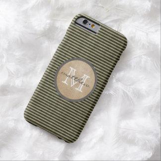 Toile de jute noire vintage de monogramme de motif coque iPhone 6 barely there