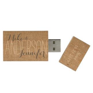 Toile de jute personnalisée épousant le cadeau de clé USB 2.0 en bois