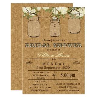 Toile de jute, pots de maçon, invitations