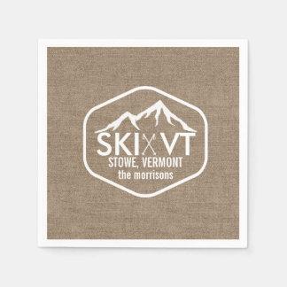 Toile de jute rustique de montagne de neige du serviettes en papier