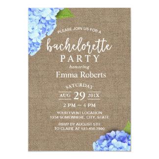 Toile de jute rustique d'hortensia bleu de partie carton d'invitation  12,7 cm x 17,78 cm