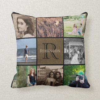 Toile de jute rustique du collage | de photo de coussins carrés