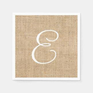 Toile de jute rustique épousant le monogramme serviette jetable