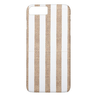 Toile de jute rustique et caisse blanche de coque iPhone 8 plus/7 plus