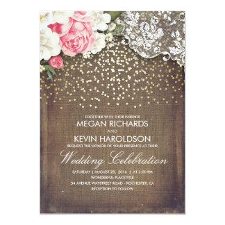 Toile de jute rustique et mariage rose d'or de carton d'invitation  12,7 cm x 17,78 cm