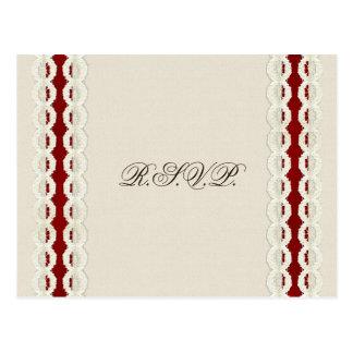 Toile de jute rustique rouge et mariage campagnard carte postale