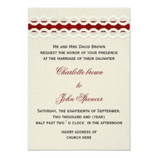 Toile de jute rustique rouge et mariage campagnard carton d'invitation  12,7 cm x 17,78 cm