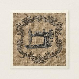 Toile de jute vintage de machine à coudre serviette en papier