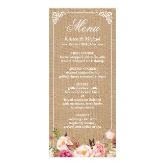 Toile de jute vintage de menu rustique de mariage