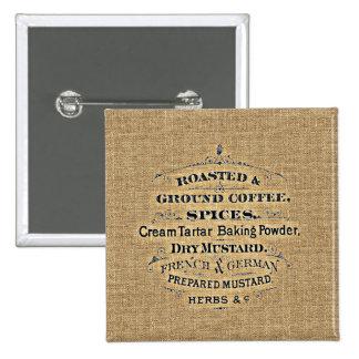 Toile de jute vintage de signe d'épicerie de style badge carré 5 cm