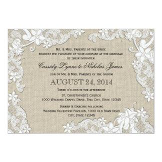 Toile de jute vintage et mariage blanc de dentelle carton d'invitation  12,7 cm x 17,78 cm