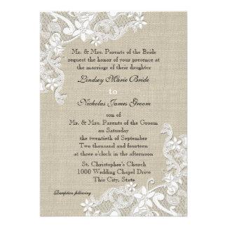 Toile de jute vintage et mariage de dentelle invitations