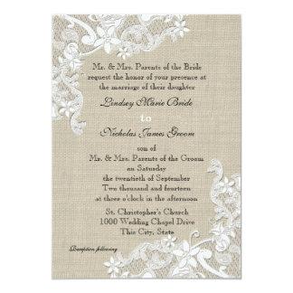 Toile de jute vintage et mariage de dentelle carton d'invitation  12,7 cm x 17,78 cm